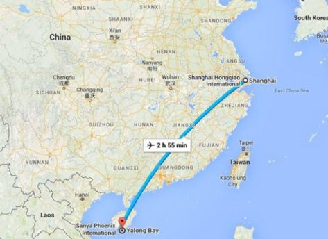 Shanghai to Sanya flight