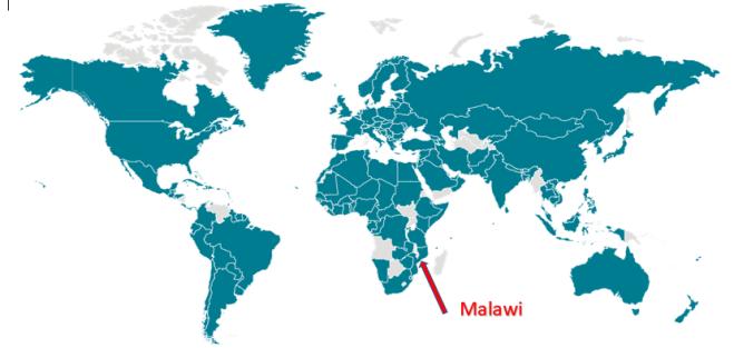 CDC COVID-19 world map outbreak March 28 Malawi